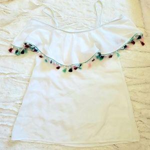 🌵SUMMER CRUSH Girls white tassel swimsuit cover
